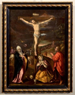 Flemish Paint Oil on canvas 16/17th Century Crucifixion Christ Old master