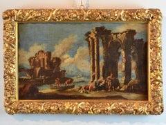 Paint Oil on canvas Landscape Italy Art18th Century Capriccio Architectural