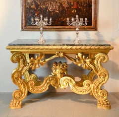 Console Louis XIV Carved Gold Gilded Rome 18th Century Italy