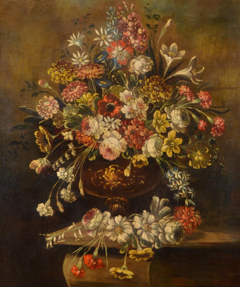 Still life with vase of flowers Italian School of the nineteenth century  Oil on canvas cm. 74 x 92,5 frame 97 x 112  Beautiful painting representing a rich still life, of great decorative taste, which strikes by the incredible vivacity and the