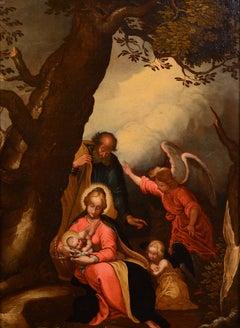 Paint Oil on canvas Roman School 17th Century Holy family Italy Art Baroque