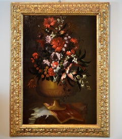 Still Life With Flowers - 17th Century Italian Baroque Oil on Canvas Painting