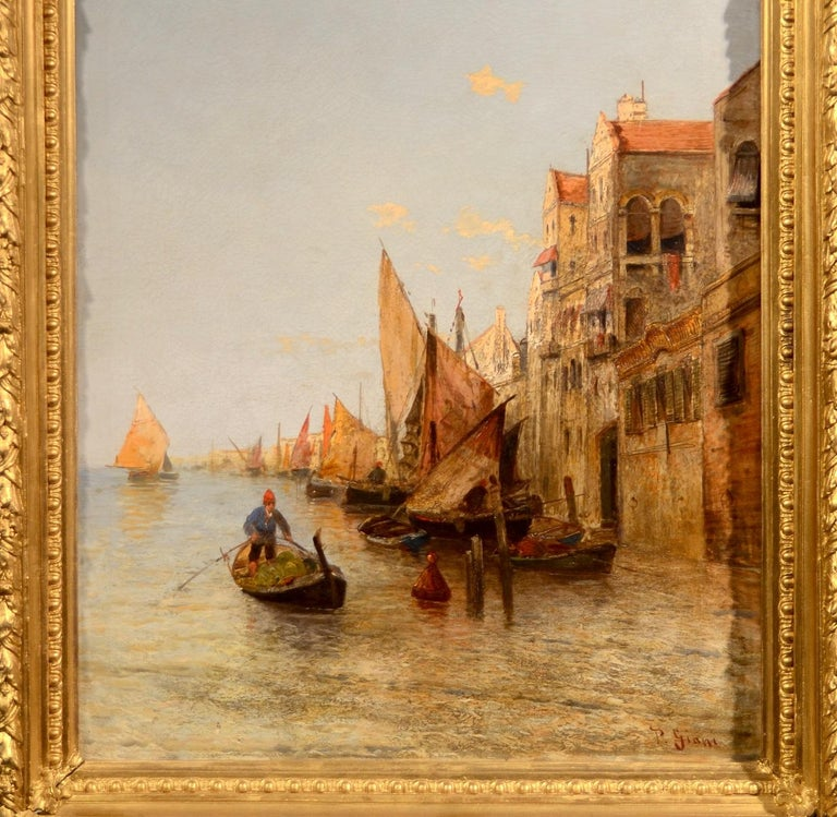 View Venice Paint Oil on canvas Art Quality Italy 19th Century Signed  For Sale 1