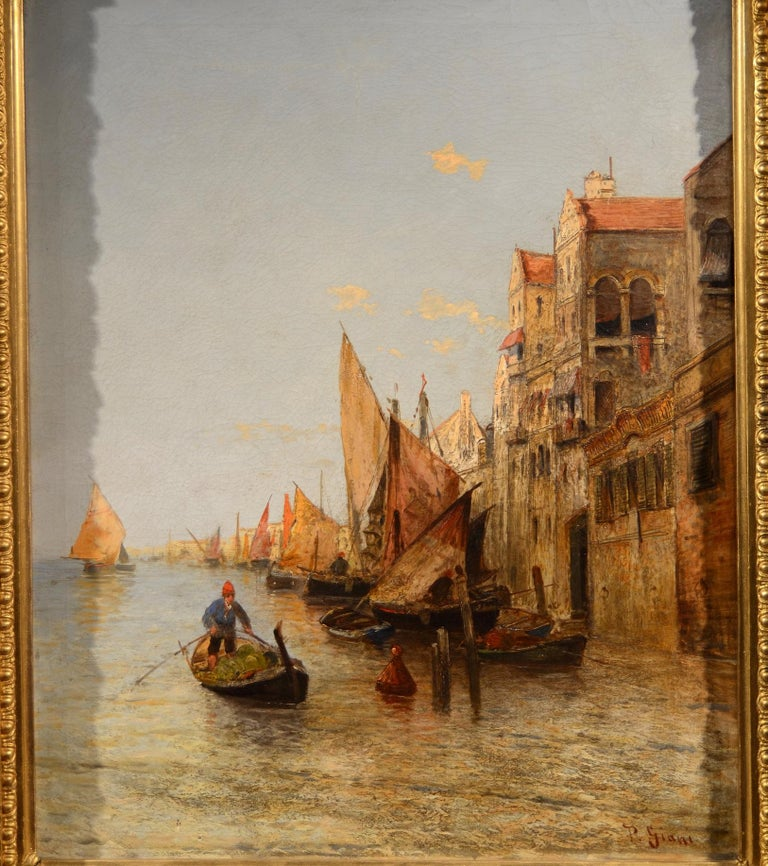 View Venice Paint Oil on canvas Art Quality Italy 19th Century Signed  For Sale 2