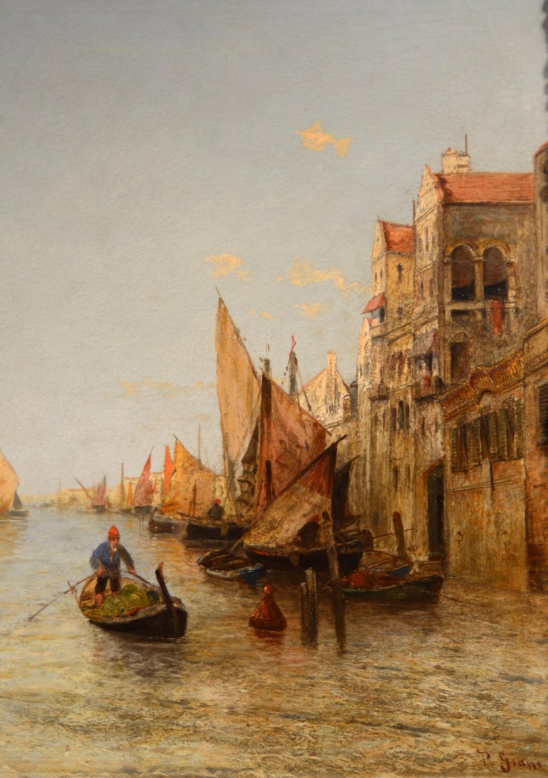 View Venice Paint Oil on canvas Art Quality Italy 19th Century Signed  For Sale 3