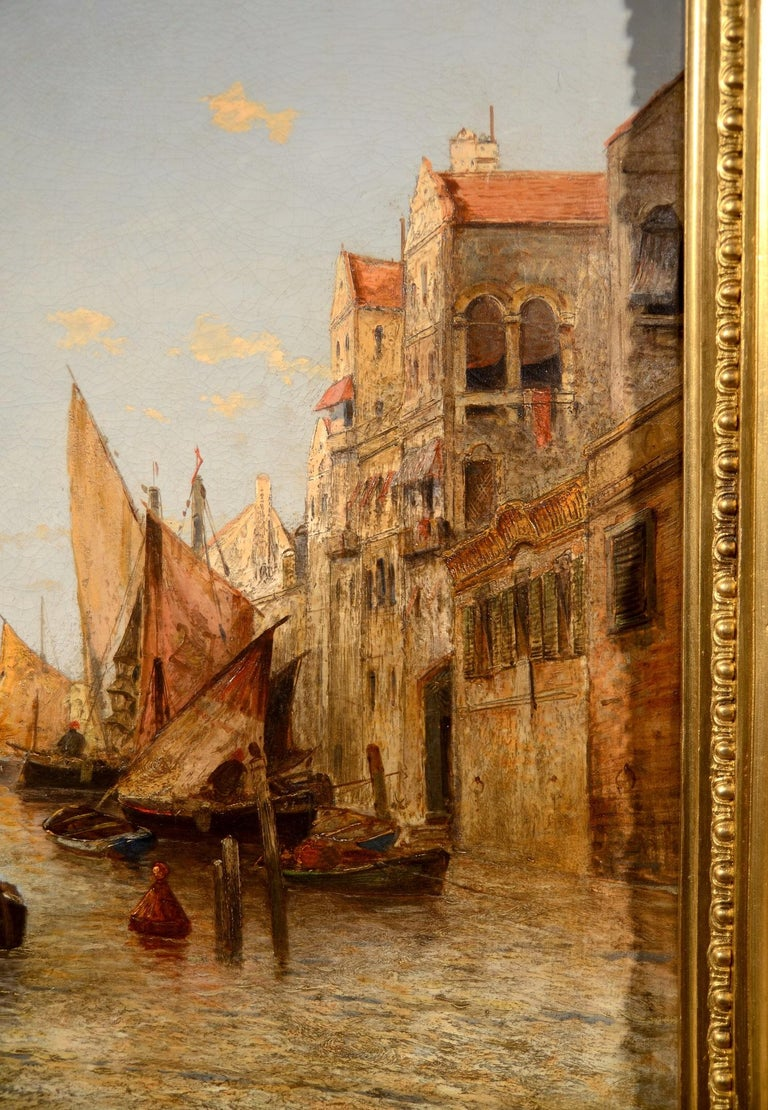 View Venice Paint Oil on canvas Art Quality Italy 19th Century Signed  For Sale 4