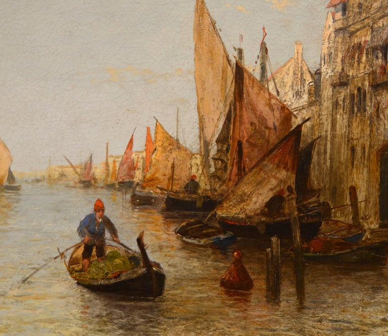 View Venice Paint Oil on canvas Art Quality Italy 19th Century Signed  For Sale 5
