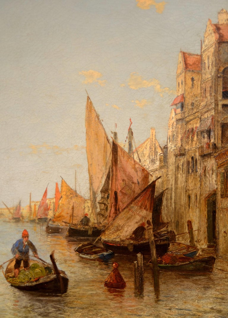 View Venice Paint Oil on canvas Art Quality Italy 19th Century Signed  For Sale 6