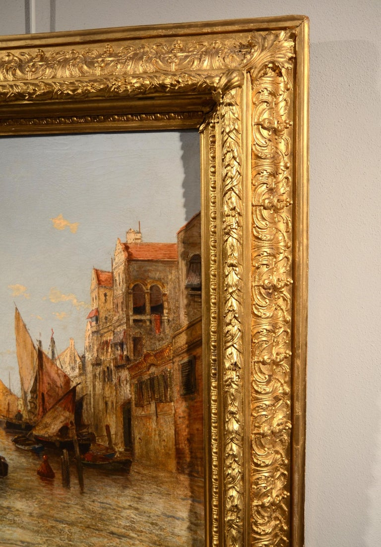 View Venice Paint Oil on canvas Art Quality Italy 19th Century Signed  For Sale 8