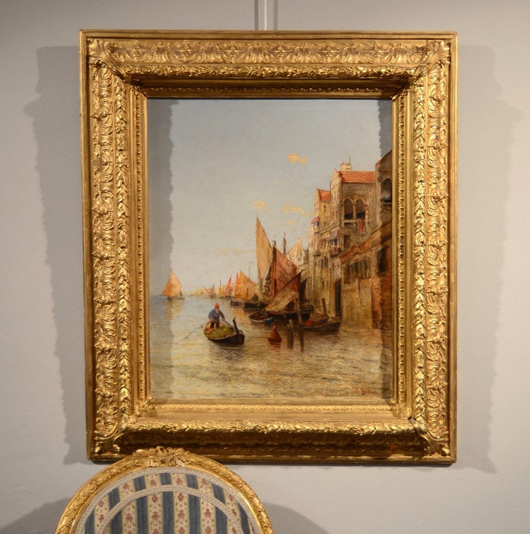 View Venice Paint Oil on canvas Art Quality Italy 19th Century Signed  For Sale 9
