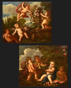 Playful Cupids Neapolitan School 17/18th Century Paint Oil on canvas Italy Art