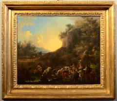 Bucolic Landscape Sunset Flandre Oil on canvas Paint 17th Century Oldmaster