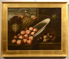 Still Life Fruit Flower Oil on canvas Paint 17th Century Italy Art Old master