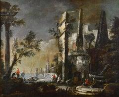 Capriccio Architectural Ruins Italy 18th Century Oil on canvas Paint Baroque