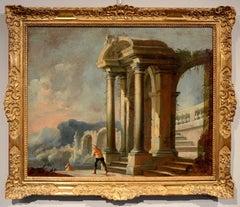 Capriccio Architectural Ruins Naples 18th Century Paint Oil on canvas Baroque