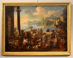 Coastal Landscape With A Market Scene Paint Oil on canvas 17th Century Italy Art