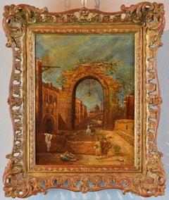Capriccio Paint Oil on canvas 19th Century Italy Venezia Art Baroque Guardi
