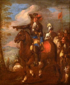 Knights Battle Paint Oil on canvas 17/18th Century Italy Landscape Old master