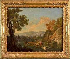 Landscape Oil on canvas Paint 18th Century Arcadian Baroque Quality Italy Roma