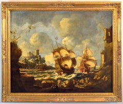 Landscape Marina Vessels paint Oil on canvas 17th Century See Water Art Quality