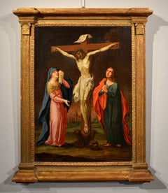 Christ Crucified Virgin Paint Oil on canvas 17th Century Flandre Religious Art
