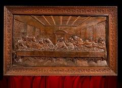 Last Supper Bas-relief Leonardo 18/19th Century Italy Sculpture Simil wood Art