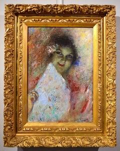 Portrait Girl 19th Century Neapolitan Italy paint Oil on panel Impressionist