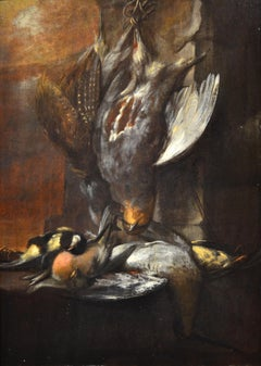 Still Life Bird Paint Oil on table 17/18th Century Italy Nature Landscape Flower