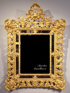 Mirror Gold Wood Tuscan Baroque 17/18th Century Florence Italy Design