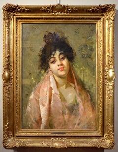 Salvatore Postiglione) Paint Oil on canvas Signed Portrait Woman Impressionism