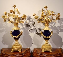 Gold Louis XVI Candelabra Gilt Bronze Blue Sèvres Porcelain France 19th Century