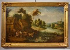 River Landscape Village Paint oil on canvas 17th Century