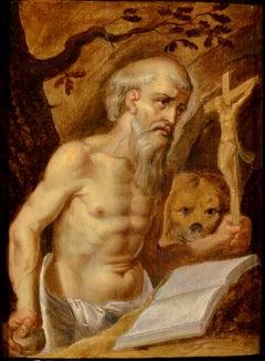 Paint Religious 17th Century Oil On Panel Saint Girolamo Leonardo Italy Holy