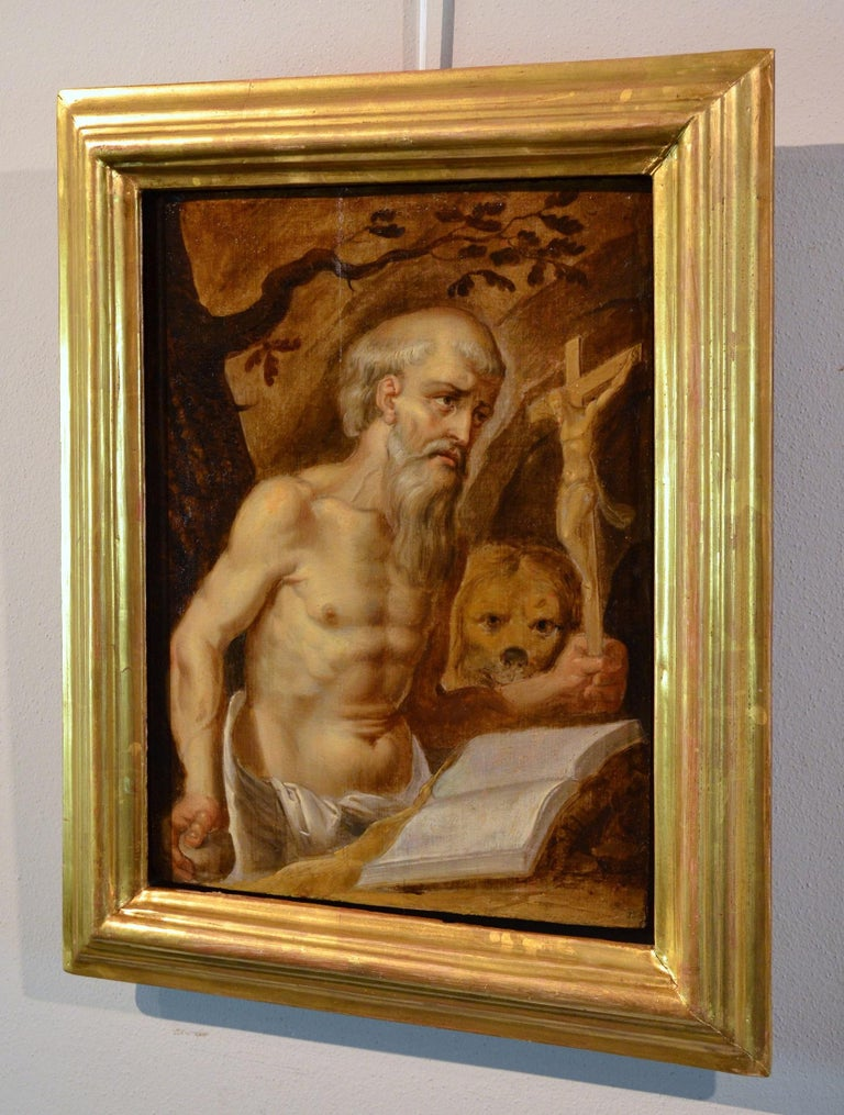 Paint Religious 17th Century Oil On Panel Saint Girolamo Leonardo Italy Holy  For Sale 9