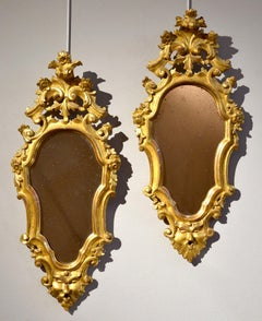 Mirrors Rome Luigi XIV 18th Century Gold Wood Italy Glass Art Quality