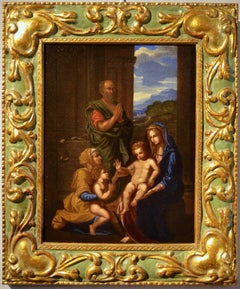 Holy Family Religious Paint Oil on canvas on table 17th Century Italy Old master