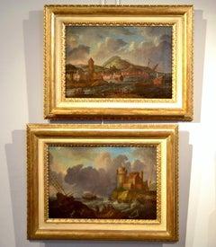 Paint Oil on canvas 17th Century Italy Mediterranean Landscapes Marina Flandre