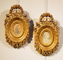 Glass Gold Wood Sculpture Frames Italy 18th Century Milano Baroque Art Quality