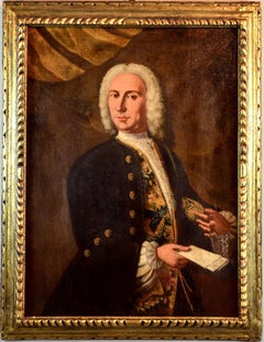 Venetian Gentleman Portrait Paint Oil on canvas 18th Century Italy Baroque Art