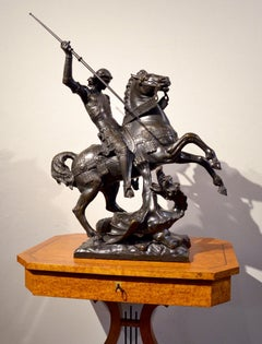 Bronze Group St George Dragon English Sculptur 19th Century Michelangelo Art