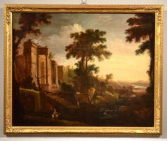Paint Oil on canvas 17th Century Wood Landscape Temple Italy Old master Roma Art
