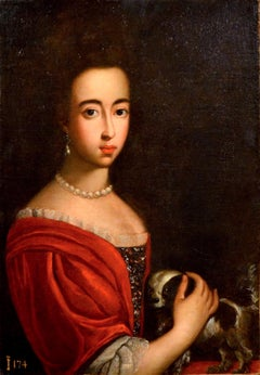 Portrait Woman Noble Paint Dog Oil on canvas 17th Century Old master Flandre