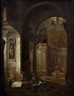 Library Paint Oil on canvas Flemish 18th Century Old master Baroque Flandre Art