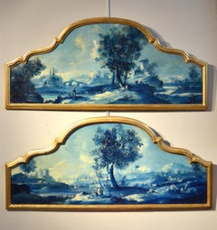 Paint Oil on canvas Pair Landscape Wood See Lake Venezia Italy Baroque Ricci Art
