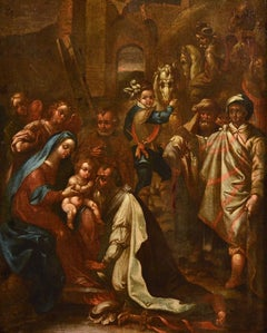 Flemish Adoration 16/17th Century Spain Religious Oil on paint Rubens Holy Art