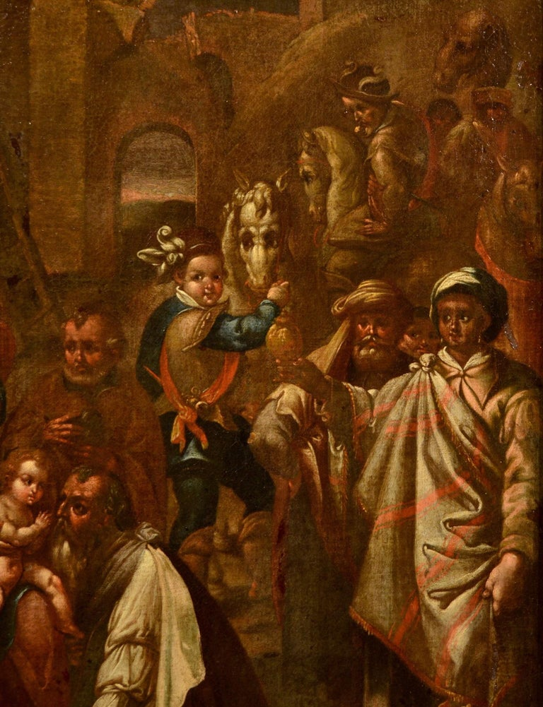 Flemish (Hispanic?) School, late 16th - early 17th century Adoration of the Magi  oil on canvas Measurements (cm): 72 x 60 with frame 92 x 80  The proposed painting depicts the scene of the Adoration of the Magi, a favorite theme in ancient