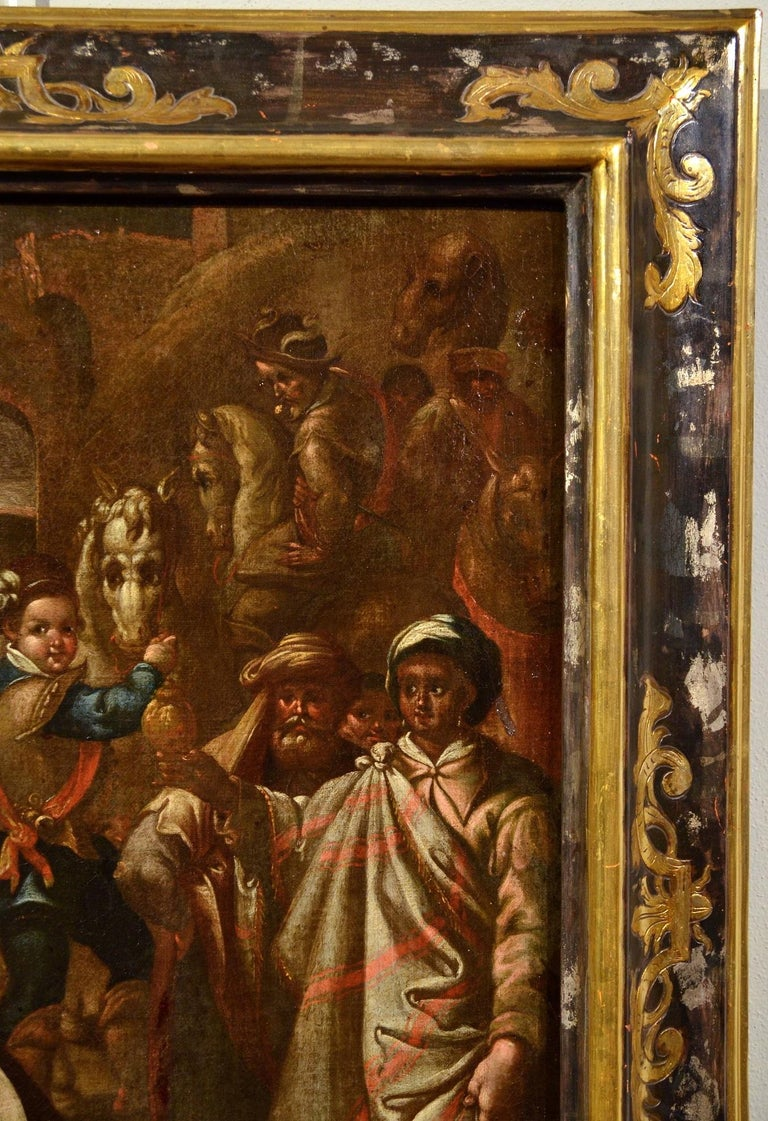 Flemish Adoration 16/17th Century Spain Religious Oil on paint Rubens Holy Art For Sale 1