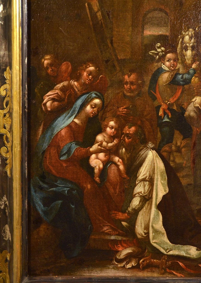 Flemish Adoration 16/17th Century Spain Religious Oil on paint Rubens Holy Art For Sale 2