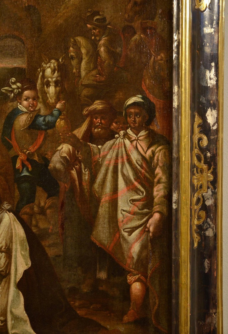 Flemish Adoration 16/17th Century Spain Religious Oil on paint Rubens Holy Art For Sale 3