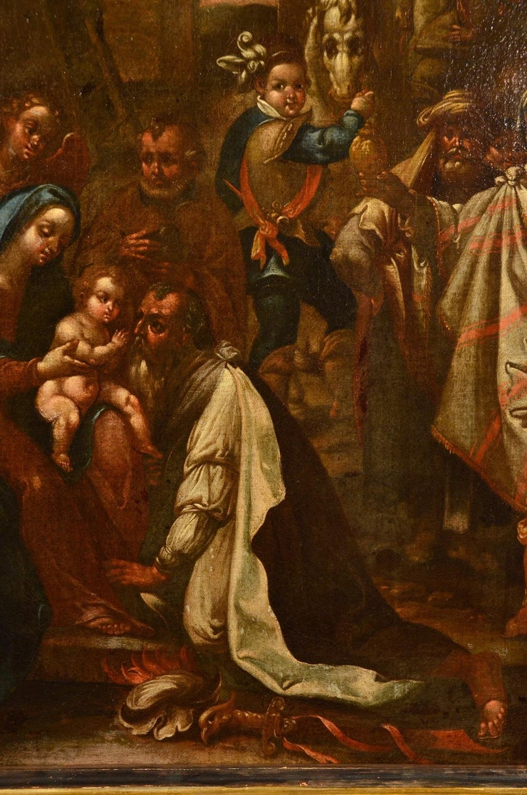 Flemish Adoration 16/17th Century Spain Religious Oil on paint Rubens Holy Art For Sale 4